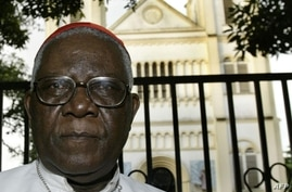 (FILES) In this file photo taken on October 07, 2004 Cameroon's respected opponent archbishop of Douala Christian Tumi, 74,…