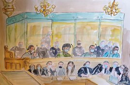 A courtroom sketch made on November 16, 2020, shows  from left to right: Ayoub El Khazzani, Mohamed Bakkali, Bilal Chatra and…
