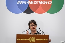 Special Representative of the UN Secretary-General for Afghanistan Deborah Lyons delivers a statement during the 2020…