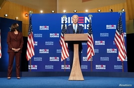 Democratic U.S. presidential nominee and former Vice President Joe Biden speaks about presidential election results.
