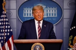 U.S. President Donald Trump speaks about the 2020 U.S. presidential election results in the Brady Press Briefing Room.