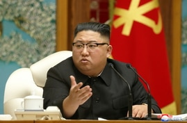 North Korean leader Kim Jong Un at the 20th Enlarged Meeting of the Political Bureau of the 7th Central Committee of the Workers' Party of Korea (WPK), in Pyongyang, North Korea, in this undated photo released on November 16, 2020 by KCNA.