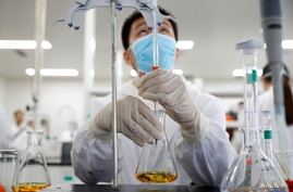 FILE PHOTO: A man works in a laboratory of Chinese vaccine maker Sinovac Biotech, developing an experimental coronavirus…