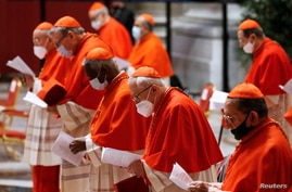 Cardinals wearing protective masks attend a consistory ceremony at St. Peter's Basilica at the Vatican, Nov. 28, 2020.