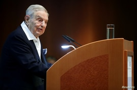FILE PHOTO: Billionaire investor George Soros speaks to the audience at the Schumpeter Award in Vienna, Austria June 21, 2019…