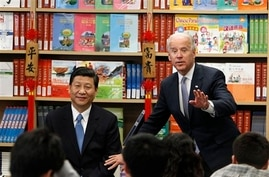 Chinese Vice President Xi Jinping and Vice President Joe Biden take questions from students at the International Studies…