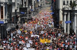 Thousands of Turks march to protest against the Internet bans and filtering regulations that will go in effect in August, in…