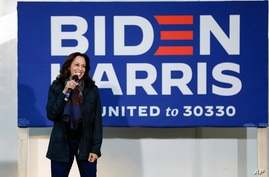 Democratic vice presidential candidate Sen. Kamala Harris, D-Calif., speaks at a campaign event in Goldsboro, N.C., Nov. 1, 2020.