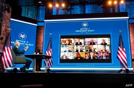 FILE - U.S. President-elect Joe Biden conducts a virtual meeting with officials, in Wilmington, Delaware, Nov. 17, 2020.