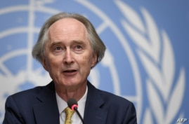 U.N. Special Envoy to Syria Geir Pedersen attends a press conference shortly prior to the resume U.N.-backed talks on a new constitution for Syria at the United Nations Office in Geneva, Switzerland, Aug. 27, 2020.