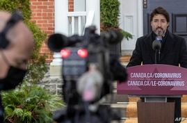 Canadian Prime Minister Justin Trudeau speaks during a COVID-19 pandemic briefing from Rideau Cottage, in Ottawa, Nov. 20, 2020.