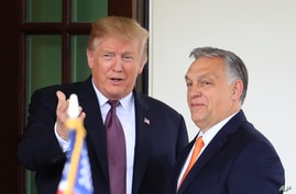 FILE - U.S. President Donald Trump welcomes Hungarian Prime Minister Viktor Orban to the White House in Washington, May 13, 2019.