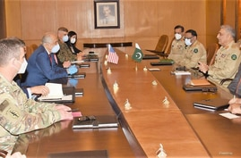 U.S. peace envoy to Afghanistan, Zalmay Khalilzad, and his delegation hold talks with Pakistan army chief Gen Qamar Javed Bajwa, at GHQ, Rawalpindi, Nov 2, 2020.