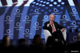 FILE - Former U.S. Vice President Joe Biden answers a question during the Concordia Europe Summit in Athens, Greece, June 7, 2017.