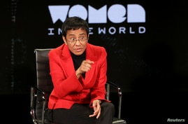 FILE - Crusading Filipina journalist Maria Ressa speaks at the Women In the World Summit in New York City, April 10, 2019.