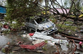 A car damaged by a tree is seen after the passing of Hurricane Iota in Puerto Cabezas, Nicaragua, Nov. 17, 2020.