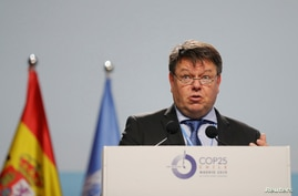 World Meteorological Organization Secretary-General Petteri Taalas speaks at the opening of the high-level segment of the COP25 in Madrid, Spain, Dec. 10, 2019.