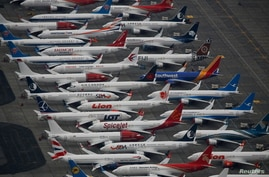 Dozens of grounded Boeing 737 MAX aircraft are seen parked at Grant County International Airport in Moses Lake, Washington, Nov. 17, 2020.