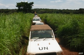 A general view of electoral official's convoy escorted by MINUSCA (United Nations Multidimensional Integrated Stabilization…