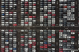 An aerial view shows Lines of new Honda cars parked up at the Royal Portbury Dock in Avonmouth, near Bristol in south-west…