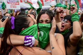 Demonstrators celebrate with green headscarves - the symbol of abortion rights activists - outside the Argentine Congress in…