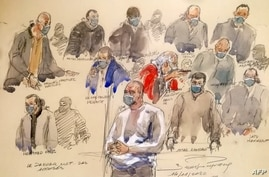 A courtroom sketch made on December 14, 2020 shows Ali Riza Polat (C), who is believed to have been the right-hand man of Amedy…