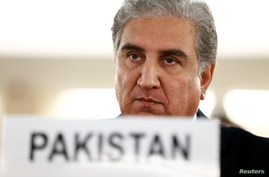 Pakistan foreign minister Shah Mehmood Qureshi addresses the United Nations Human Rights Council in Geneva, Switzerland,…
