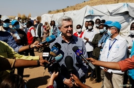 The United Nations High Commissioner for Refugees (UNHCR) Filippo Grandi talks to members of the media during his visit to the…