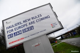 British government Brexit information campaign advertisement is seen along the M25 near Westerham, in Kent, southern Britain,…