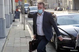 Britain's chief negotiator David Frost arrives to the UK Mission after the first session of Brexit negotiations at the European…