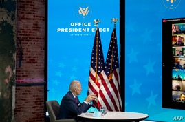 President-elect Joe Biden participates in a virtual meeting with the National Association of Counties Board of Directors about…