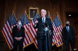 Senate Majority Leader Mitch McConnell of Kentucky, speaks during a news conference, Dec. 8, 2020.
