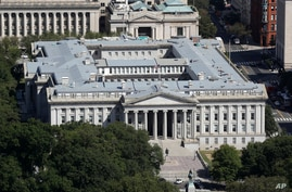 FILE - The U.S. Treasury Department building viewed from the Washington Monument, Sept. 18, 2019, in Washington.