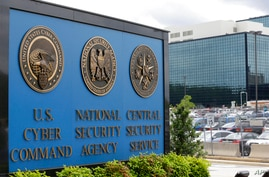 FILE - This June 6, 2013 file photo, shows the sign outside the National Security Agency (NSA) campus in Fort Meade, Md.All…