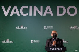 Dimas Tadeu Covas, director of the Butantan Institute, speaks during a press conference regarding the Sinovac COVID-19 vaccines test results, at headquarters of the Butantan Institute in Sao Paulo, Brazil, Dec. 23, 2020.