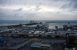 A general view of the trucks in Port of Dover, waiting for boarding on a ferry in Dover, England, Thursday, Dec. 24, 2020…