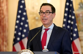 U.S. Treasury Secretary Steve Mnuchin speaks during a news conference to announce the Trump administration's restoration of sanctions on Iran, at the U.S. State Department in Washington, Sept. 21, 2020.