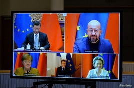 European Commission President Ursula von der Leyen, European Council President Charles Michel, German Chancellor Angela Merkel,…