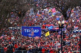 Supporters of U.S. President Donald Trump gather near the Washington Monument by the White House ahead of his rally and speech.