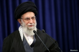 Iran's Supreme Leader Ayatollah Ali Khamenei delivers a televised speech, in Tehran, Iran, Jan. 8, 2021.