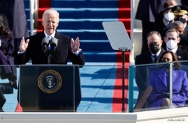 U.S. President Joe Biden delivers his speech after he was sworn in as the 46th President of the United States on the West Front…
