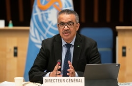 Tedros Adhanom Ghebreyesus, Director General of the World Health Organization (WHO) speaks after Dr. Anthony Fauci, director of…
