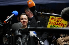 Stella Moris girlfriend of Julian Assange, speaks to the media after a ruling that he cannot be extradited to the United States…