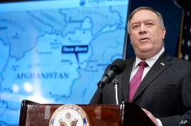Secretary of State Mike Pompeo speaks at the National Press Club in Washington, Jan. 12, 2021.