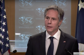 US Secretary of State Antony Blinken gives his first news conference on Jan. 27, 2021, at the State Department, one day after being sworn in. (State Dept.)