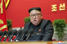 This picture released by North Korea's official Korean Central News Agency (KCNA) Jan. 9, 2021, shows North Korean leader Kim Jong Un speaking at the 8th Congress of the Workers' Party of Korea, in Pyongyang.