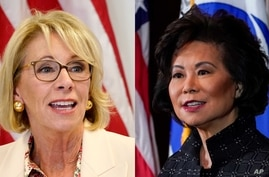 Education Secretary Betsy DeVos (left) and Transportation Secretary, Elaine Chao are seen in this composite image.