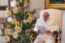 Pope Francis speaks during the weekly general audience at the Vatican Apostolic Library, Dec. 30, 2020.