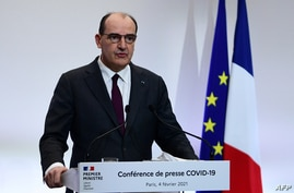 French Prime Minister Jean Castex delivers a press conference on the current French government strategy for the ongoing Covid…