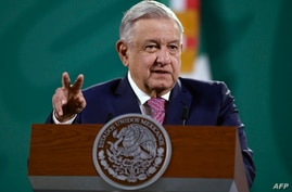 Mexican President Andres Manuel Lopez Obrador speaks during his daily press conference at the Palacio Nacional, in Mexico City,…
